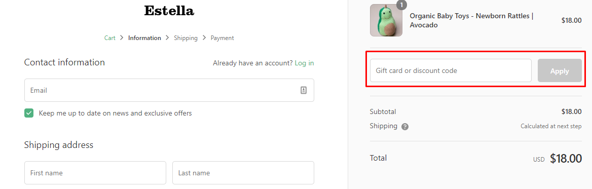 How do I use my Estella discount code?