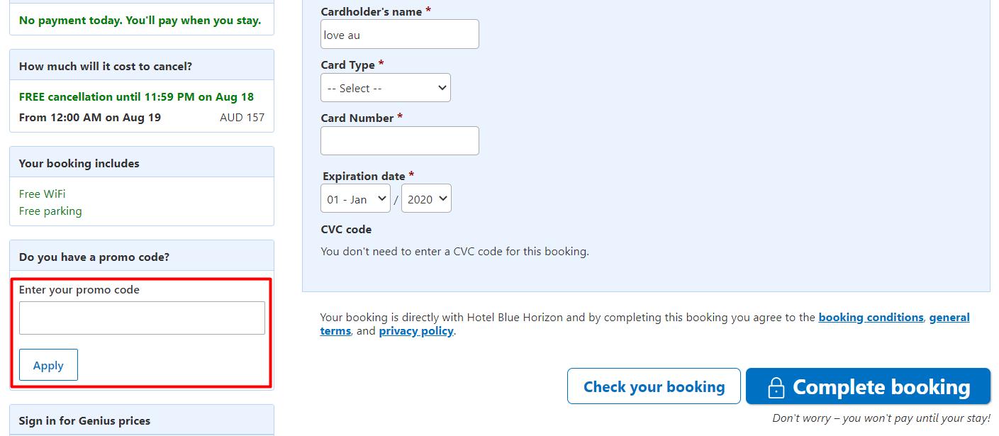 How do I use my Booking.com promo code?