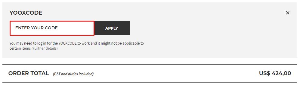 How do I use my YOOX discount code?