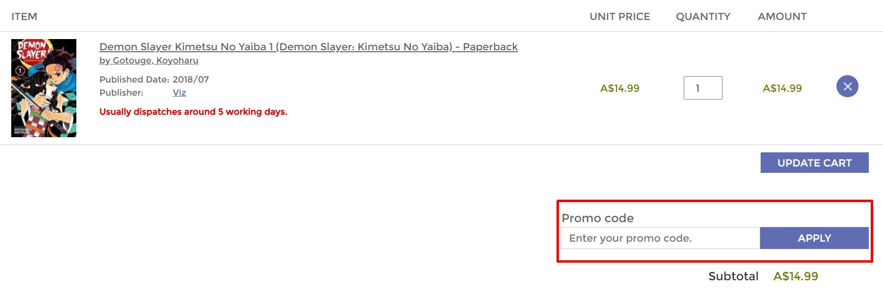 How do I use my Kinokuniya promo code?