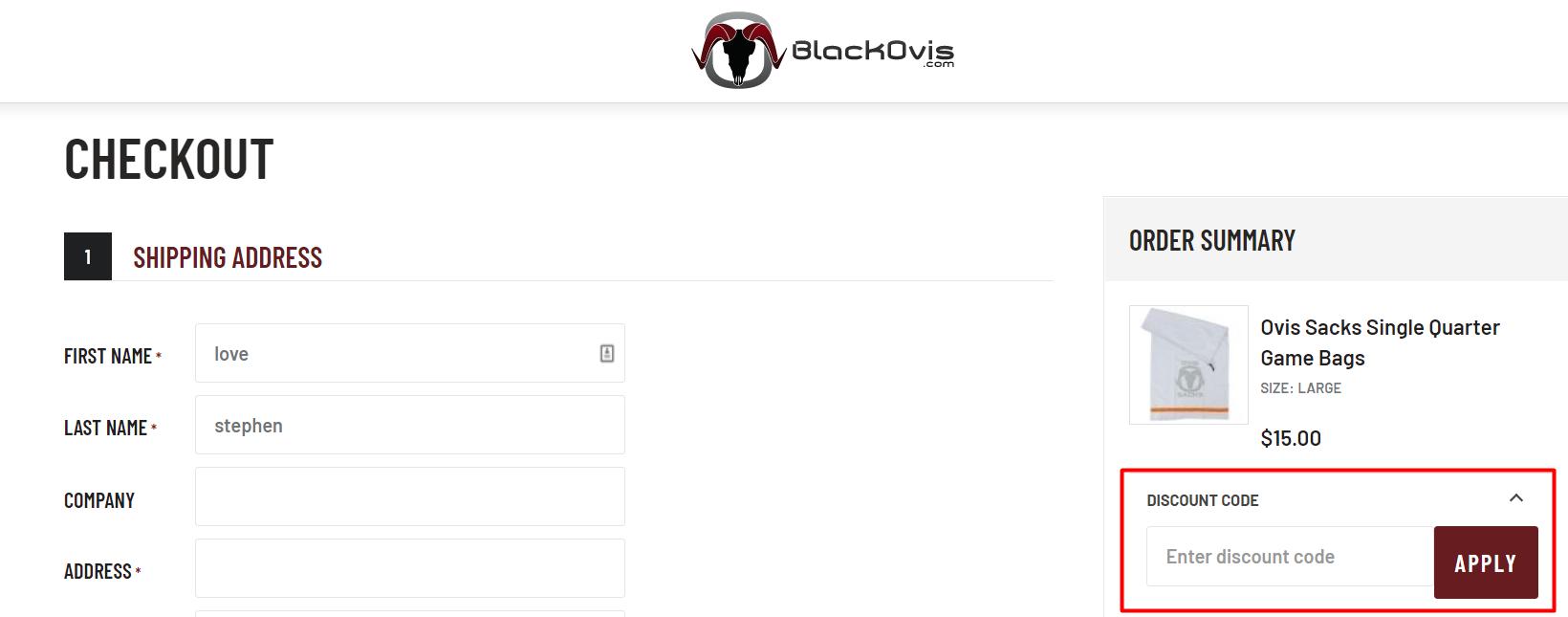 How do I use my BlackOvis.com discount code?