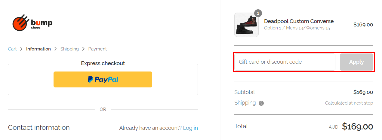 How do I use my Bump Shoes discount code?