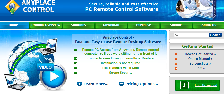 About Anyplace Control Software Homepage