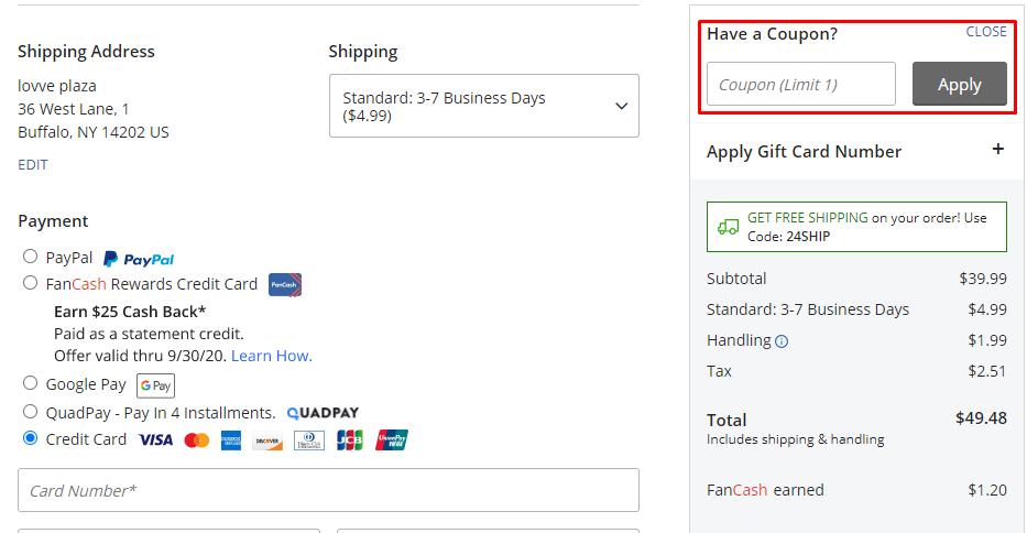 How do I use my Fanatics coupon code?