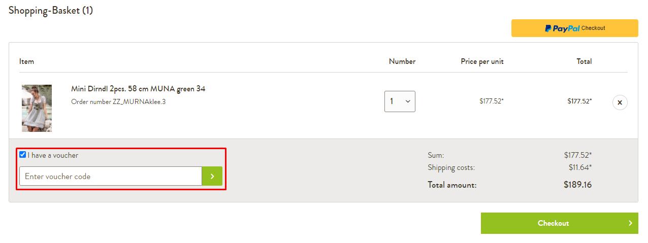 How do I use my Oktoberfest-Dirndl-Shop voucher code?