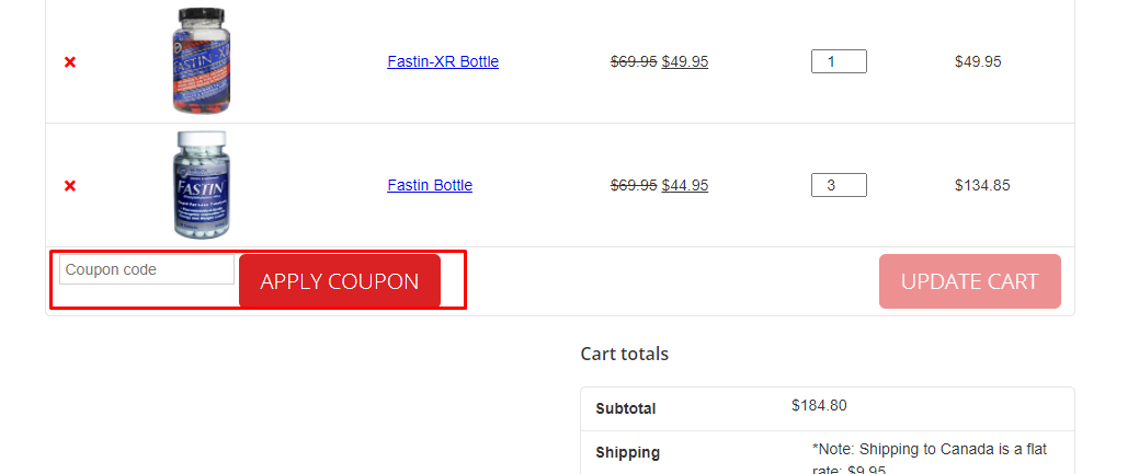 How do I use my FastinSupplement.com coupon code?