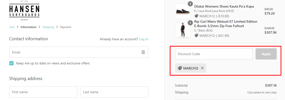 How do I use my Hansen Surfboards discount code?