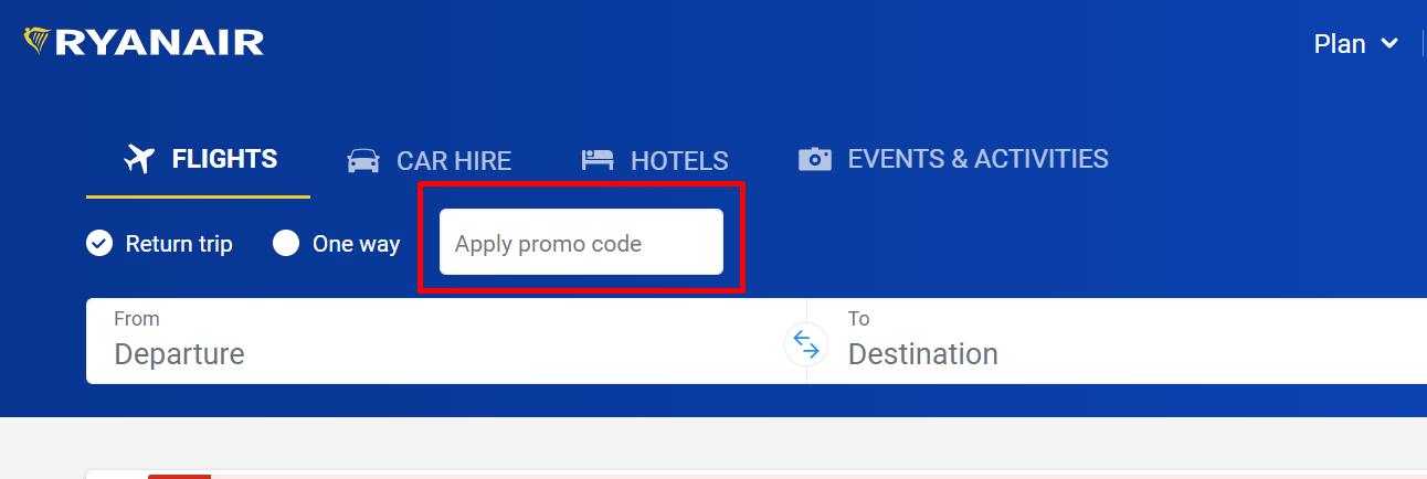 How do I use my Ryanair promo code?