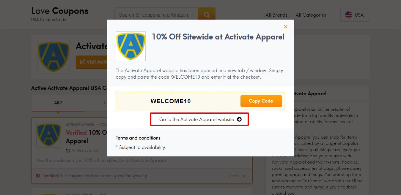 activate apparel website