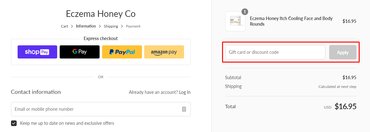 How do I use my Eczema Honey discount code?