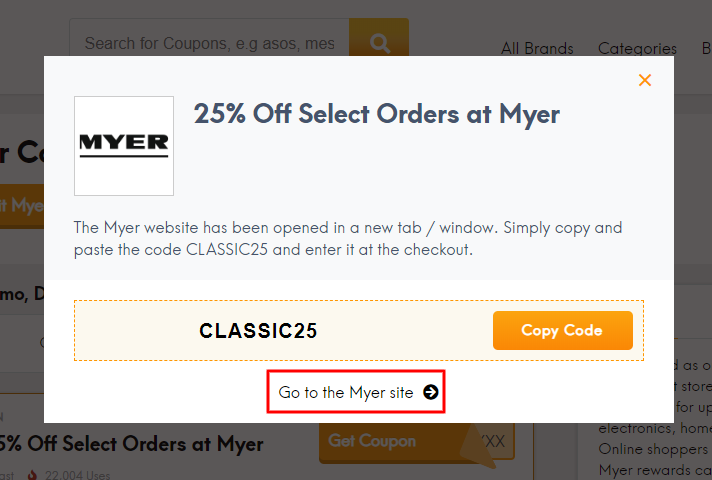 Go to Myer site