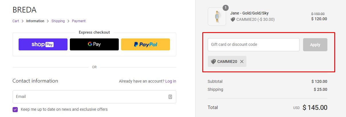 How do I use my BREDA discount code?