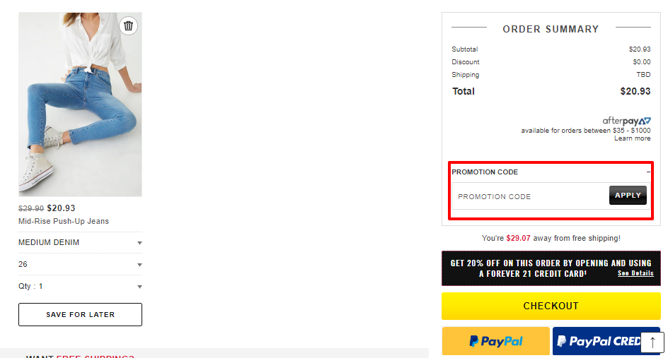How do I use my Forever 21 discount code?