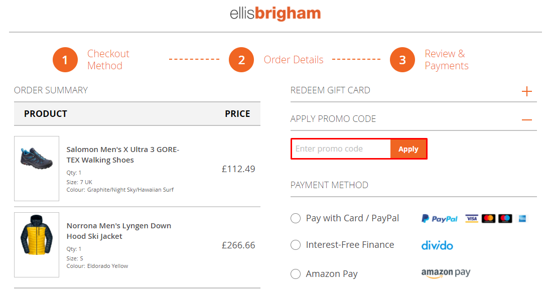 How do I use my Ellis Brigham promo code?