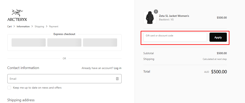 How do I use my Arcteryx discount code?
