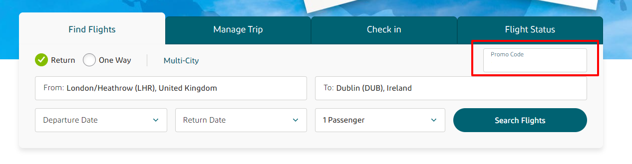 Aer Lingus Checkout