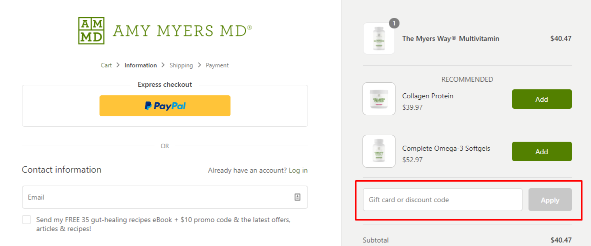 How do I use my Amy Myers MD discount code?
