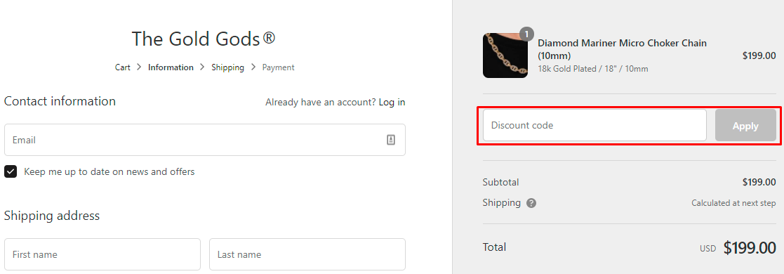 How do I use my The Gold Gods discount code?