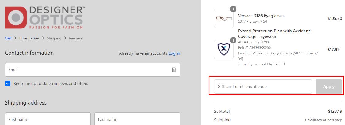 How do I use my Designer Optics discount code?