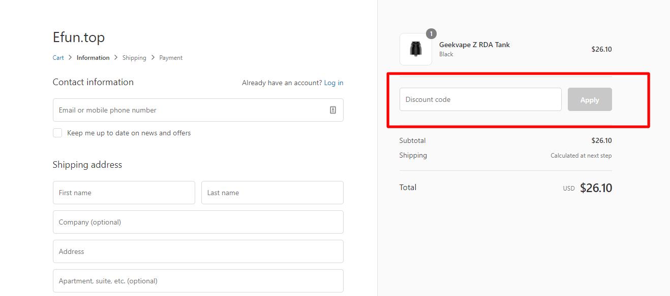 How do I use my Efun.top discount code?