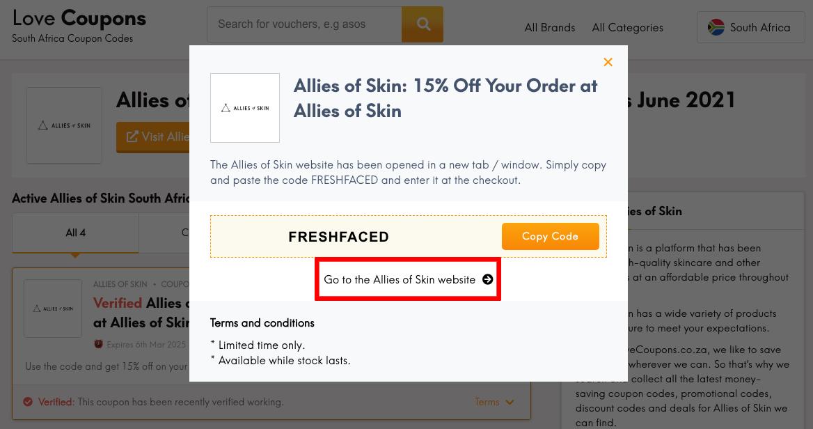 Allies of Skin ZA Get Coupon