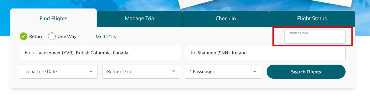 Aer Lingus CA Checkout