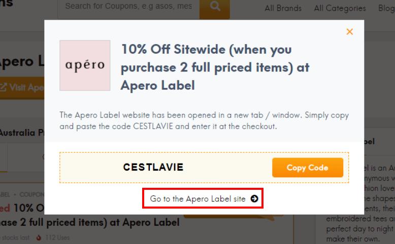 go to Apero Label site