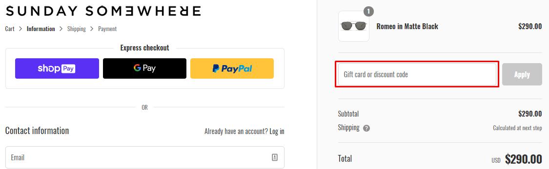 How do I use my Sunday Somewhere coupon code?