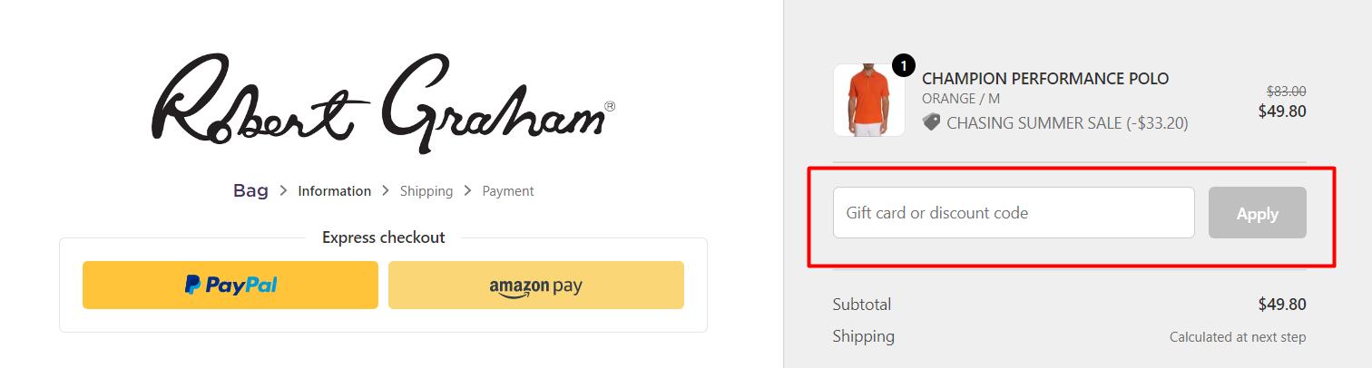 How do I use my Robert Graham discount code?