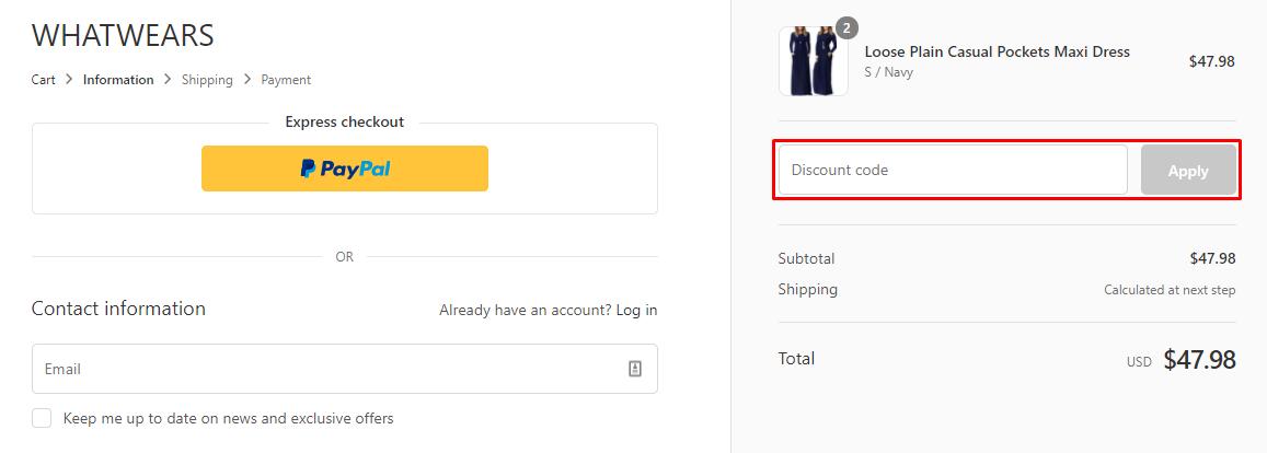 How do I use my Whatwears discount code?