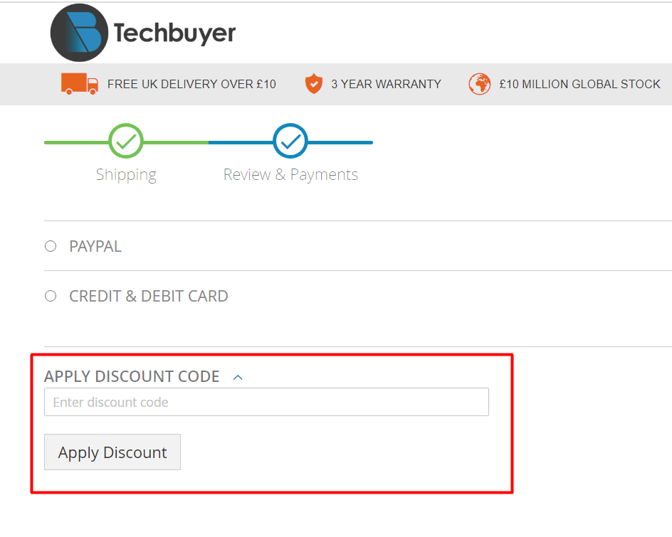 How do I use my Techbuyer discount code?