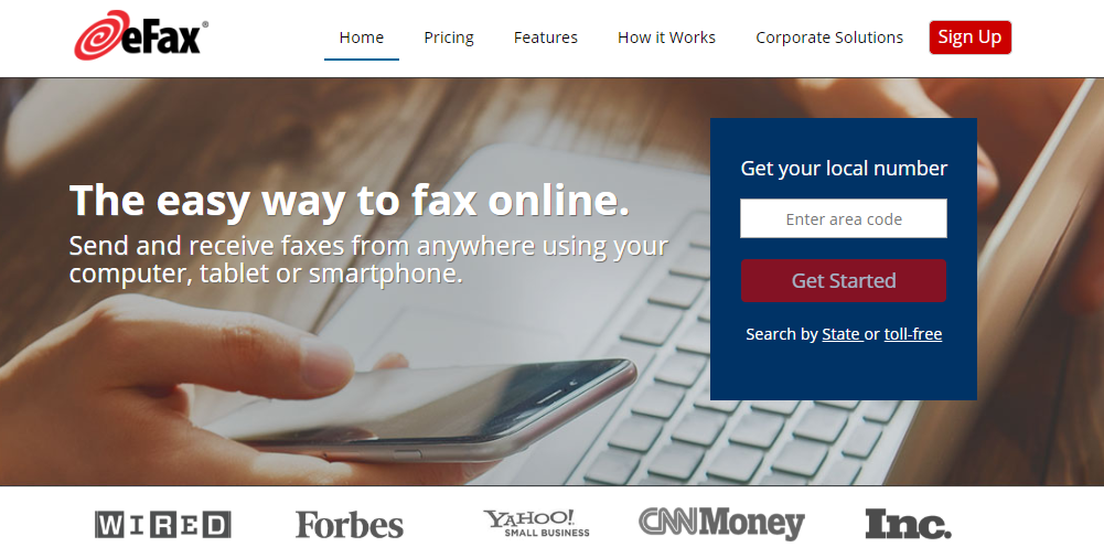 eFax Homepage