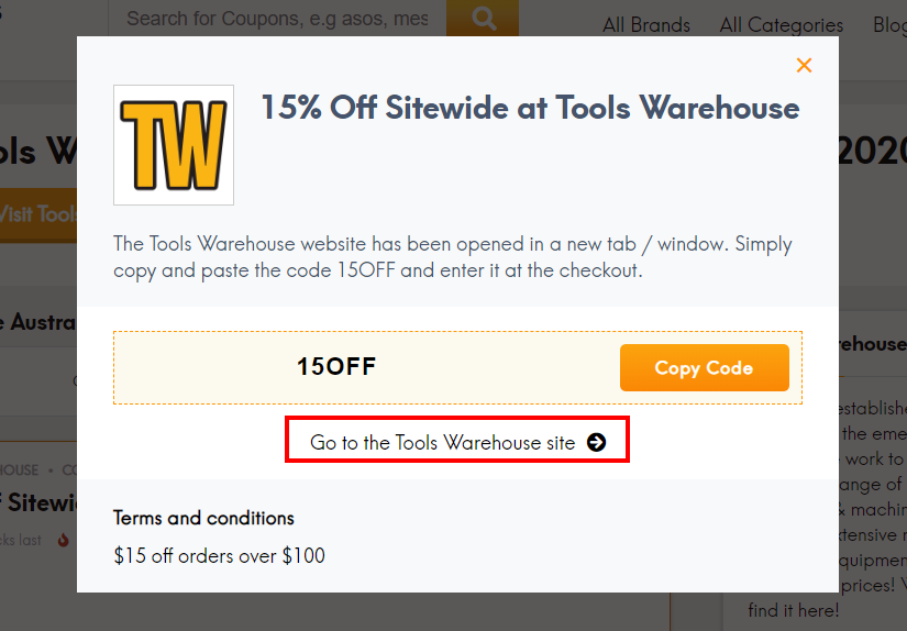 go to Tools Warehouse site
