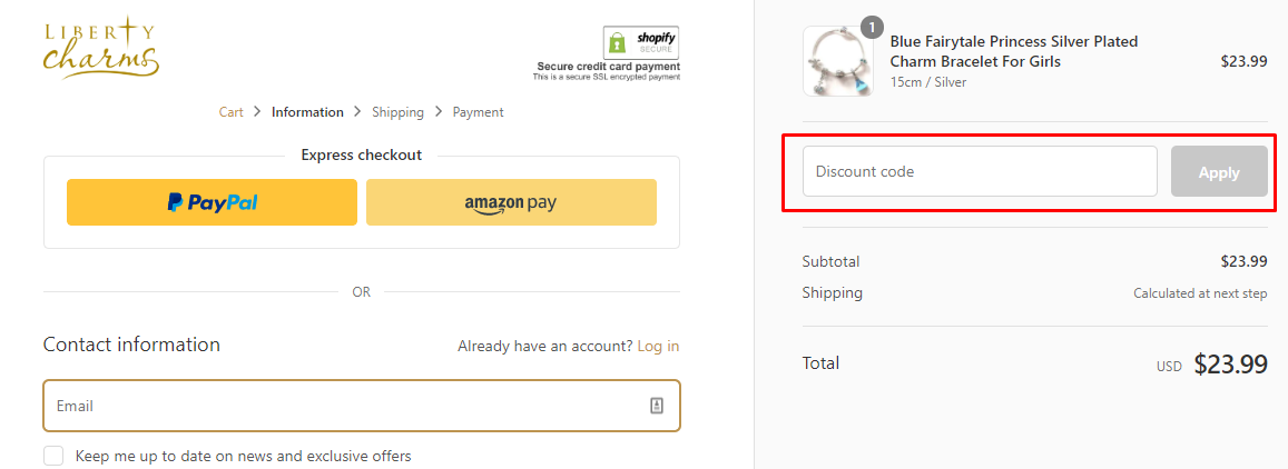 How do I use my Liberty Charms discount code?