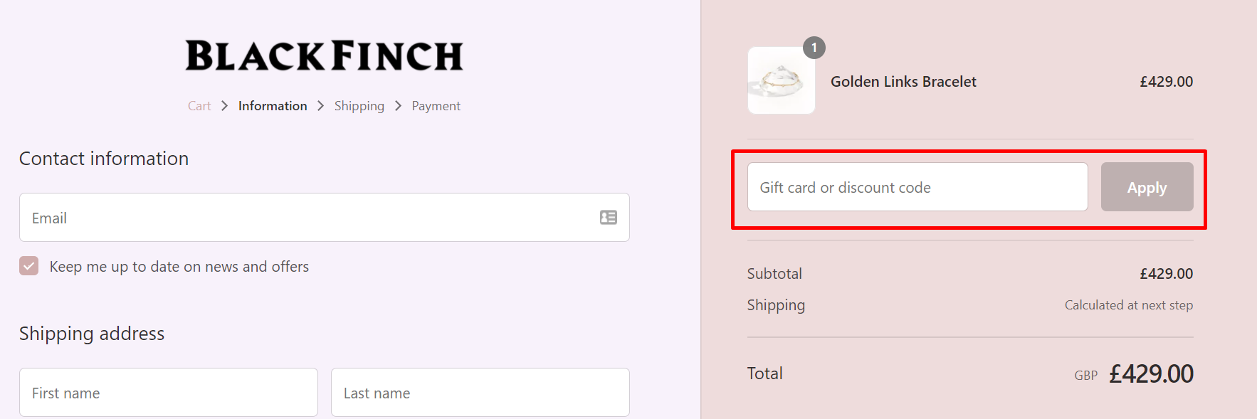 How do I use my Black Finch Jewellery discount code?