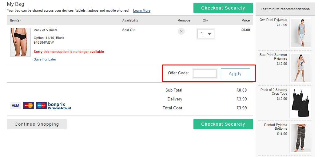 How do I use my Bonprix discount code?