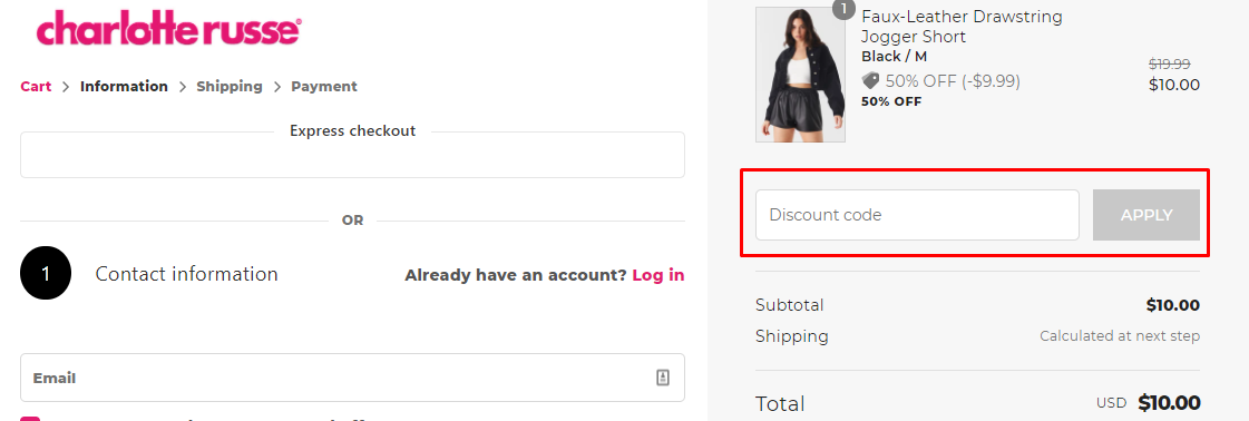 How do I use my Charlotte Russe discount code?