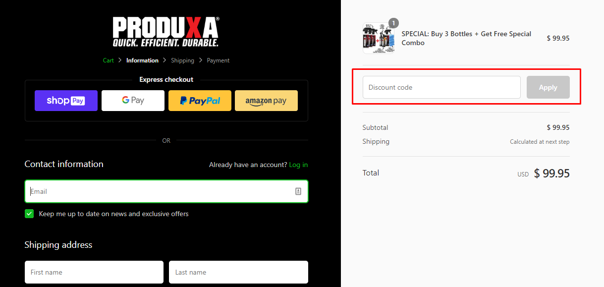 How do I use my ProduXa discount code?