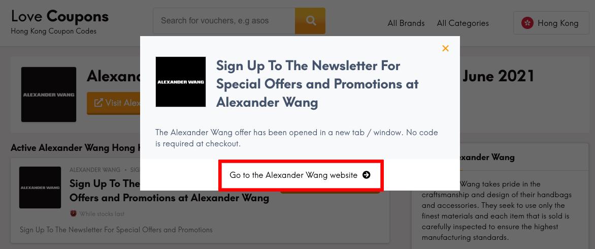 Alexander Wang HK Get Coupon
