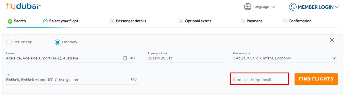 How do I use my flydubai coupon code?