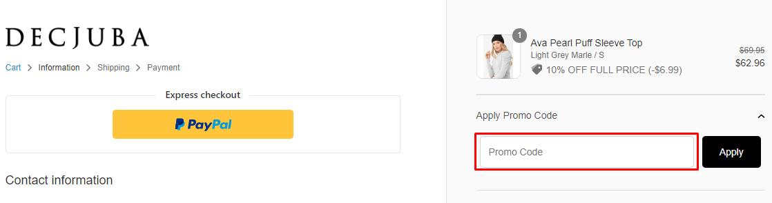 How do I use my Decjuba coupon code?