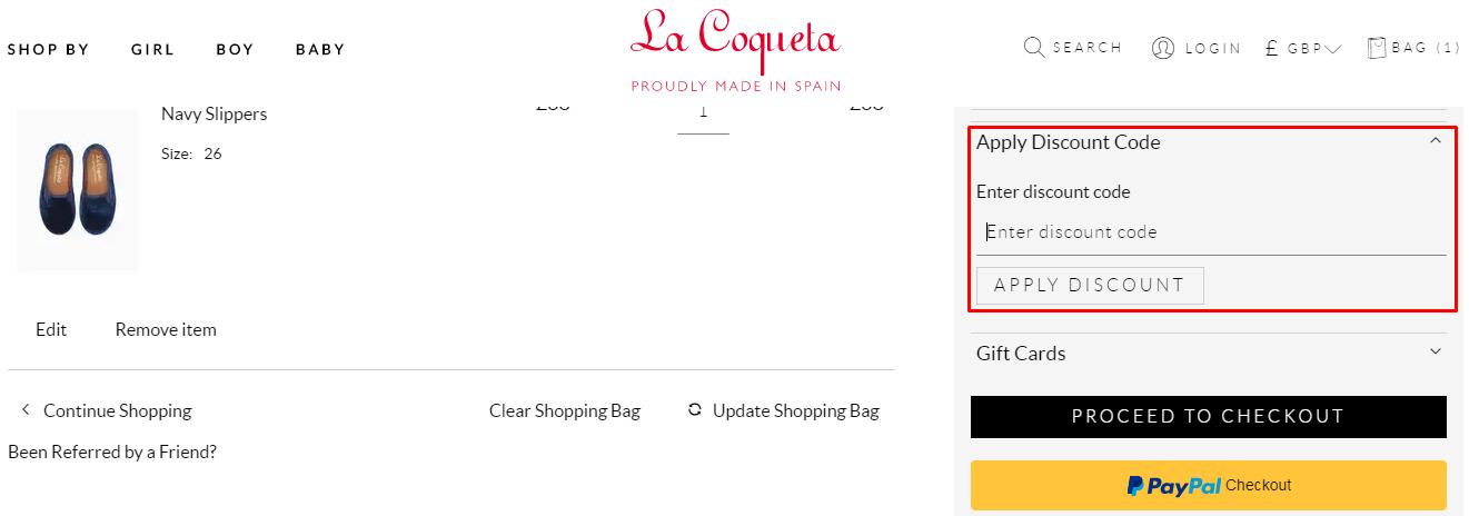 How do I use my La Coqueta discount code?