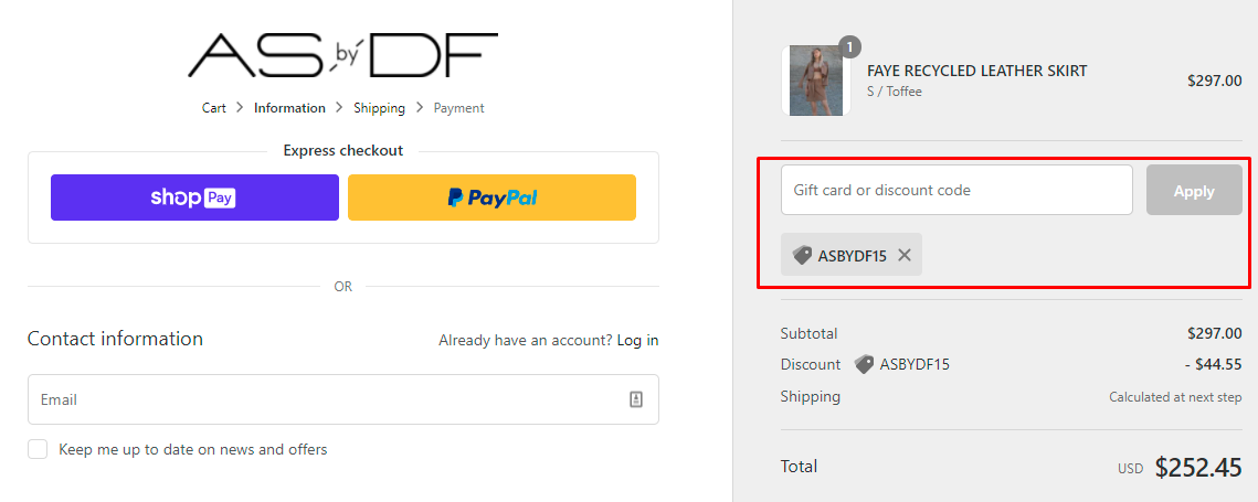 How do I use my AS by DF discount code?