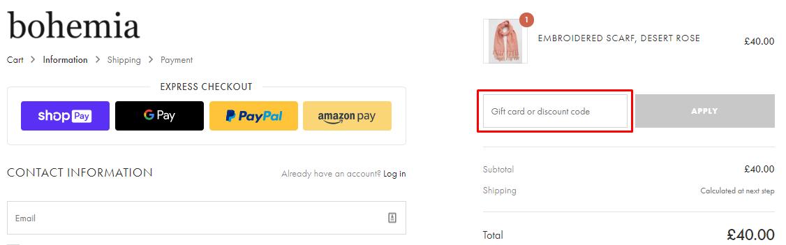 How do I use my Bohemia Design coupon code?