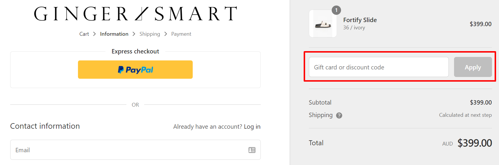 How do I use my GINGER & SMART discount code?