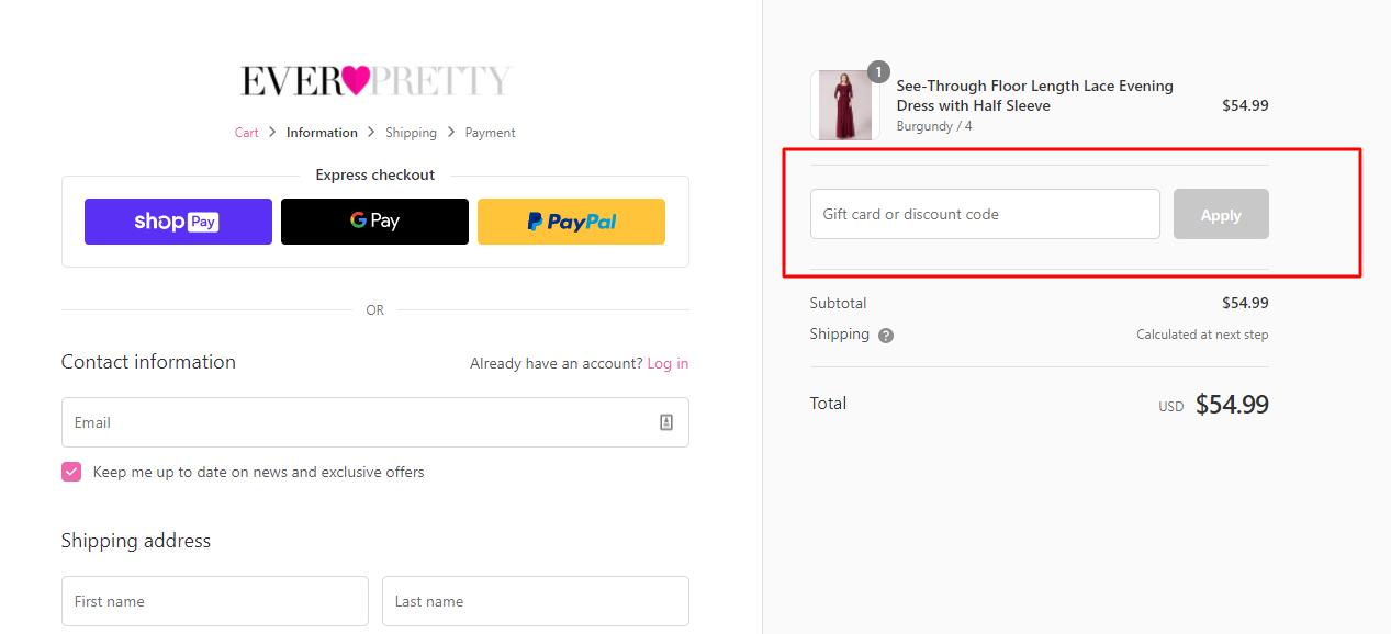 How do I use my Ever Pretty discount code?