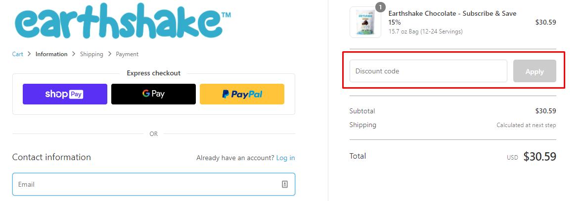 How do I use my Earthshake discount code?