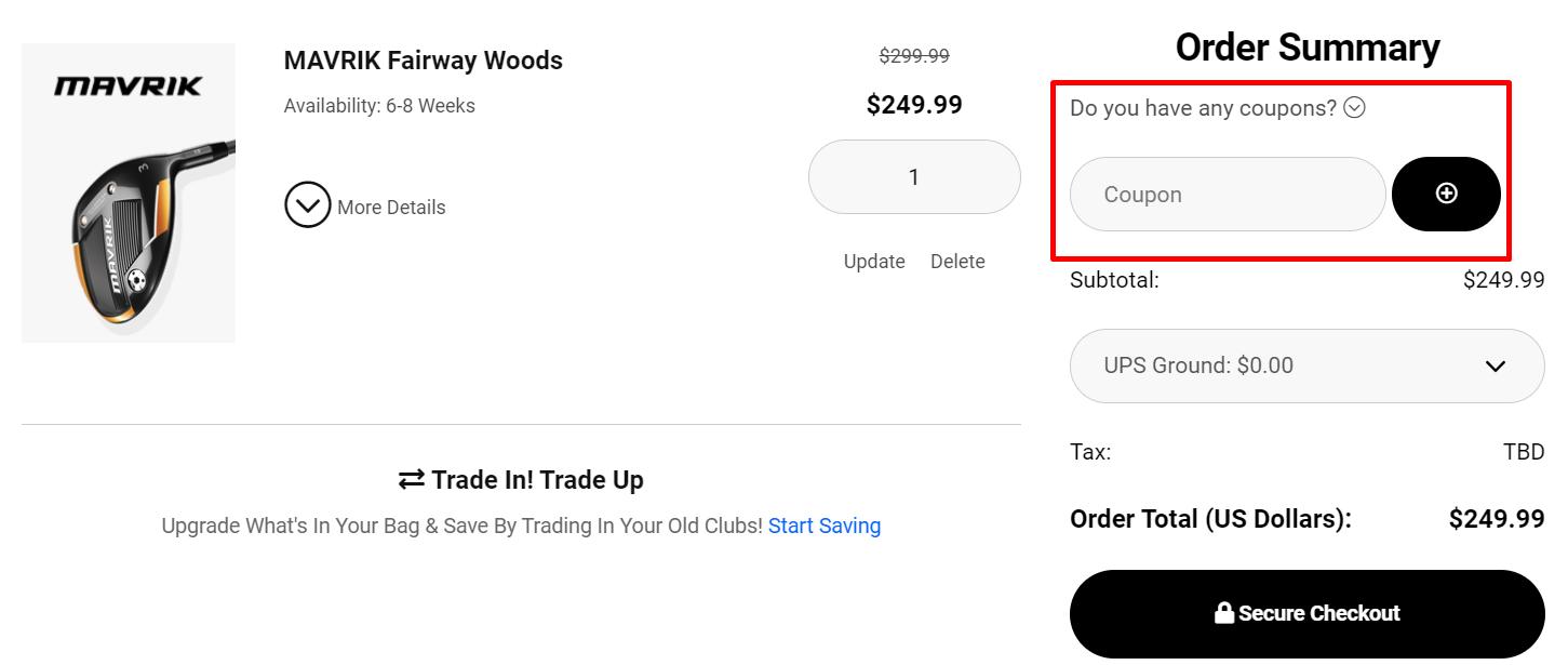 How do I use my Callaway Golf coupon code?