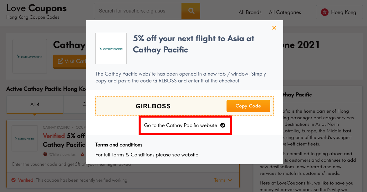 Cathay Pacific HK Get Coupon