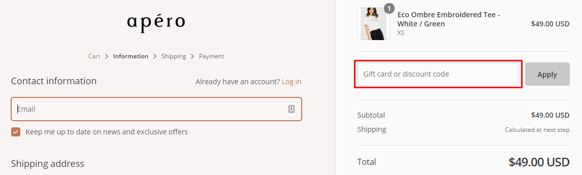 How do I use my Apero Label discount code?
